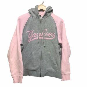Majestic Pink gray raglan Yankees zip hoodie L